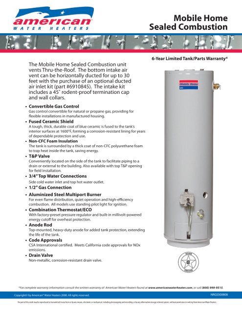 Sealed Combustion Water Heater : sealed, combustion, water, heater, Mobile, Sealed, Combustion, American, Water, Heaters