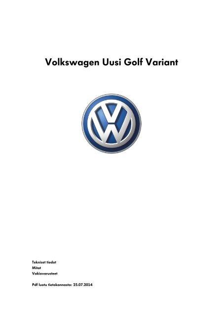 Volkswagen Uusi Golf Variant tekniset tiedot, mitat ja