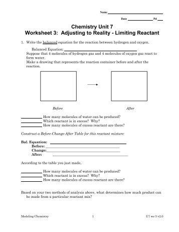Limiting Reactant Practice Worksheet