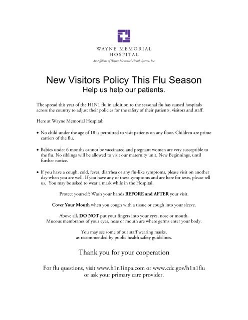 New Visitors Policy This Flu Season - Wayne Memorial Health System