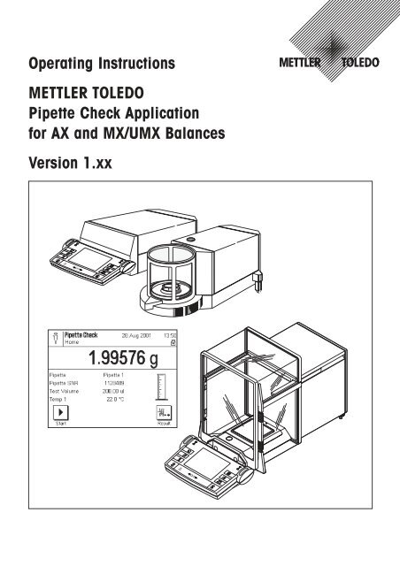 Operating instructions Pipette Check Application for