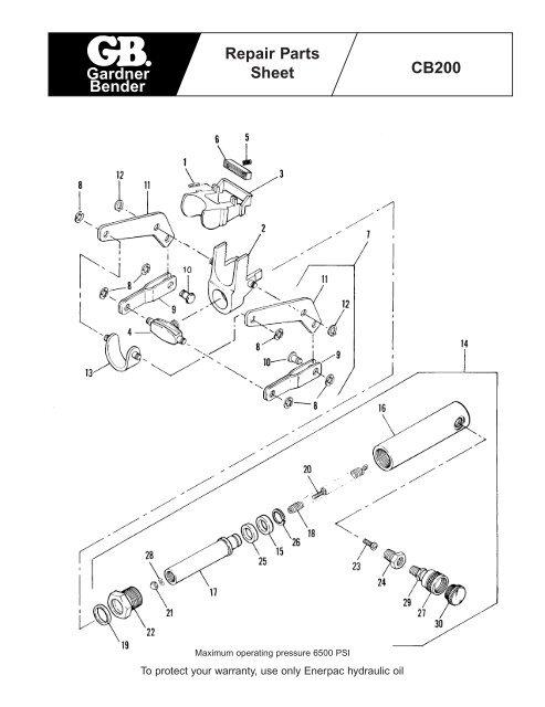 Gardner Bender Repair Parts Sheet CB200