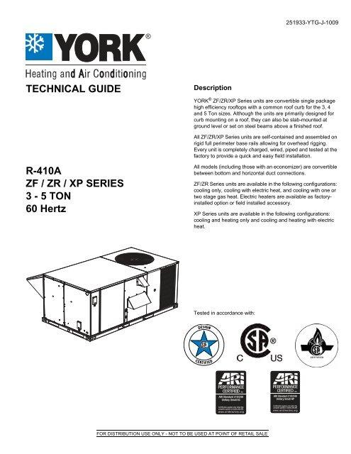 TG, York, R-410A, ZF/ZR/XP Series, 3-5 Ton, 60 Hertz