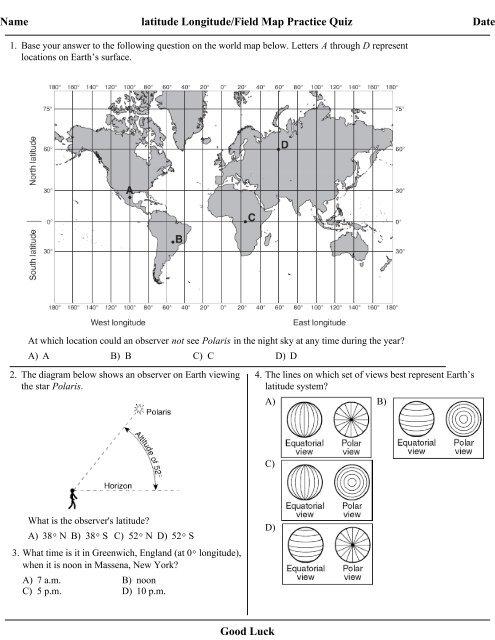 Latitude and Longitude/ Field Map Practice Quiz