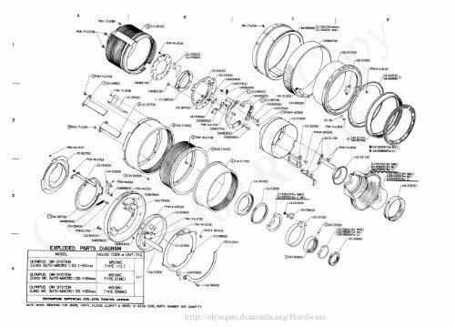 Olympus 50mm f3.5 Macro Lens Exploded Parts Diagram