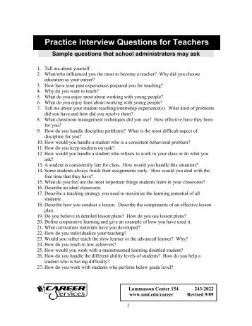 Interviewing Peers Sample Questions And Possible Responses