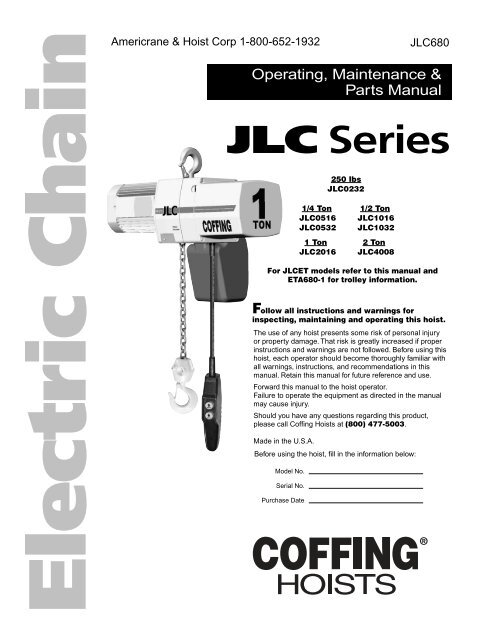coffing hoist wiring diagram bell satellite dish hoists wire diagrams with trolley schematic hand chain jlc