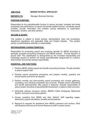 Payroll Specialist Job Description - oursearchworld.com -
