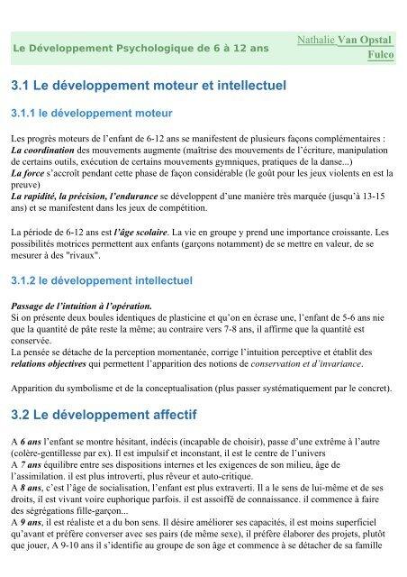 Développement Affectif De 0 à 6 Ans : développement, affectif, Développement, Psychologique, L'enfant, (6-12