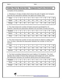 √ Scatter Plot Worksheet | Scatter Graphs