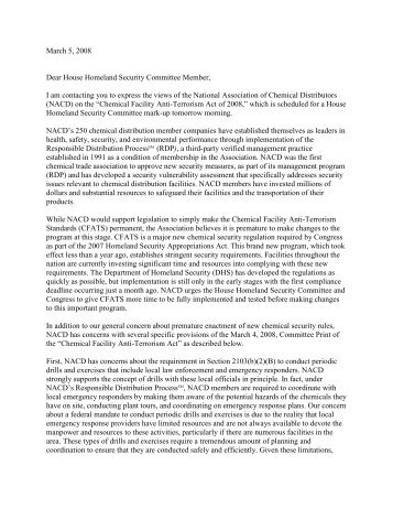 A Sample Letter to the Homeland Security Advisory Councils Task