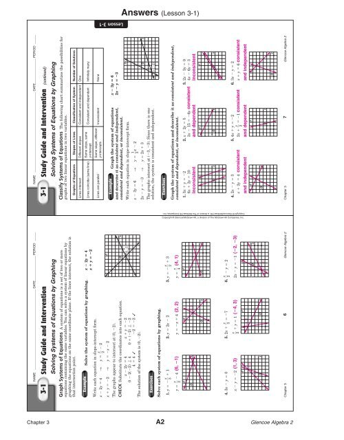 3 1 Practice Solving Systems Of Equations Answer Key