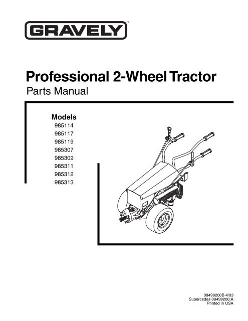 Professional 2-Wheel Tractor Illustrated Parts List