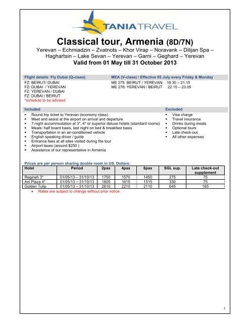 Classical Tour Armenia 8d 7n Tania Travel