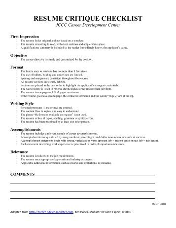Resume Writing Critique Checklist  writerstoolkitwebfc2com