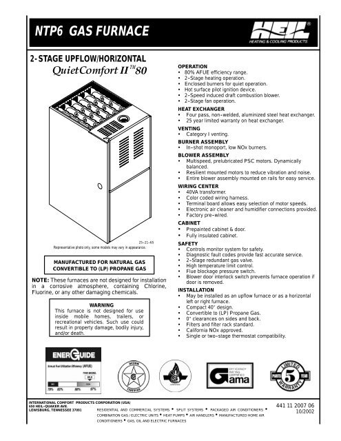 FURNACE SPECIFICATIONS UP
