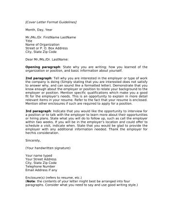 COVER LETTER GUIDELINES BLOCKED STYLE  Franciscan