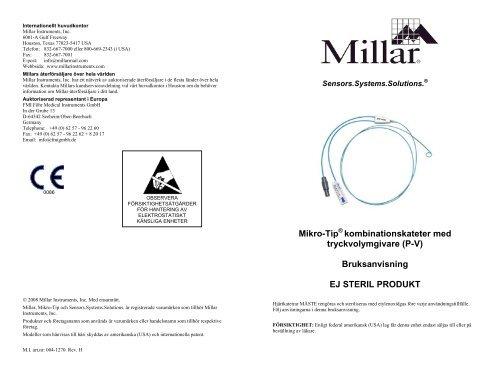 Mikro-Tip kombinationskateter med tryckvolymgivare (P-V