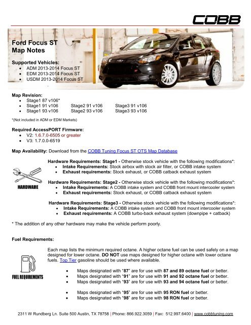 ford focus st map notes cobb tuning