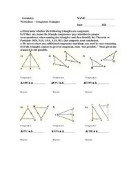 Congruent Triangles Worksheet Answers. Worksheets ...
