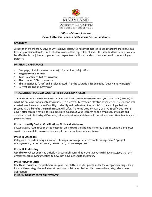 Cover Letter Guidelines  Robert H Smith School of Business MBA