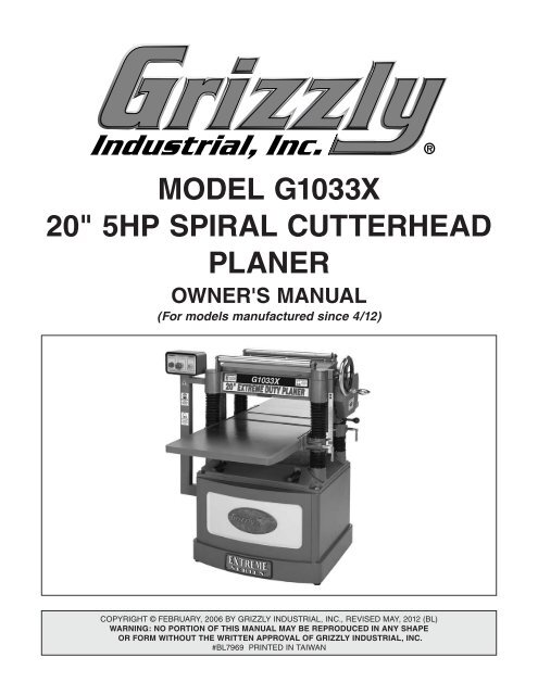 Grizzly 20 Planer Review