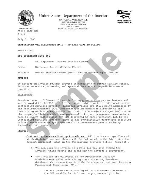 DSC Policy Letter on Invoice Processing Sample