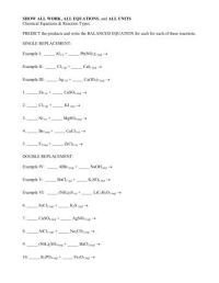 Single Replacement Reactions Worksheet