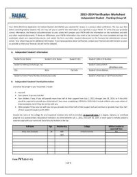 2013-2014 Dependent/Independent Verification Worksheet V1