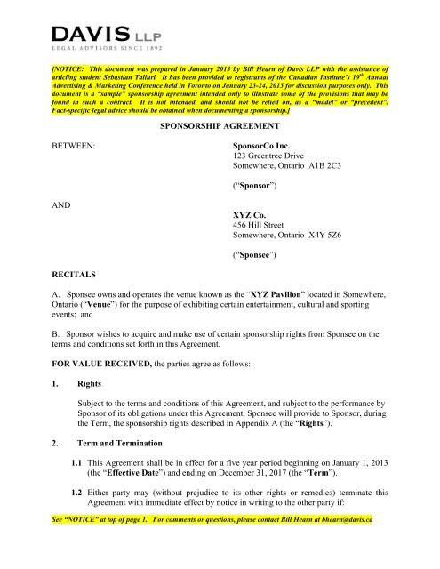 (as per section 23 (4) of llp act, 2008) this agreement of llp made at hyderabad this 07th day of. Sample Sponsorship Agreement Davis Llp