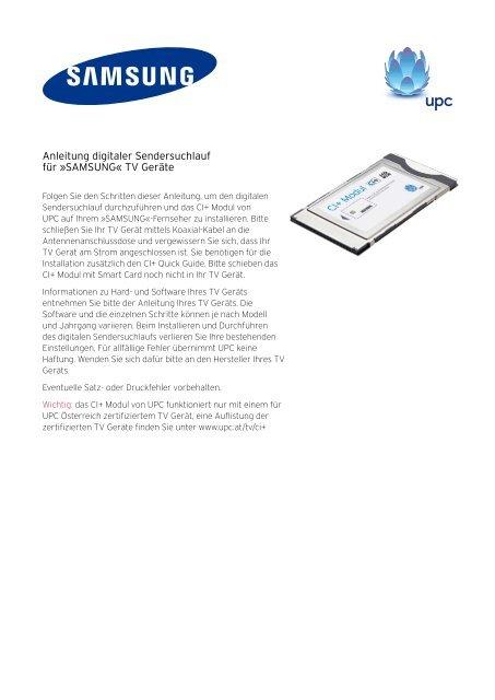 Anleitung digitaler Sendersuchlauf für »SAMSUNG« TV Geräte
