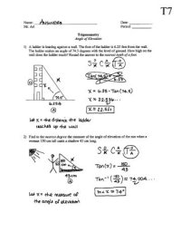 Angles Of Elevation And Depression Worksheet Free ...