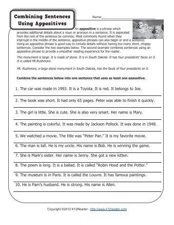 Combining Sentences Using Appositives