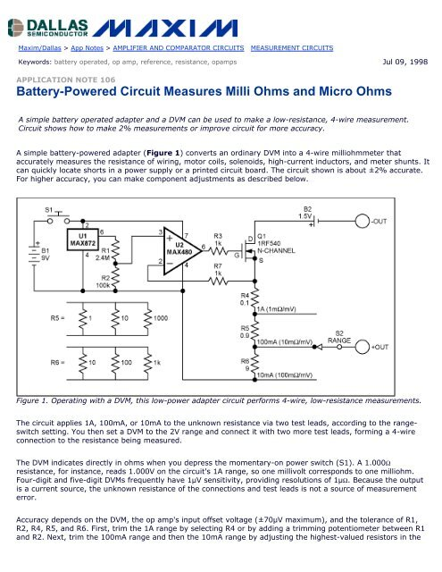 4 wire measurement circuit receptacle wiring battery powered measures milli ohms and micro