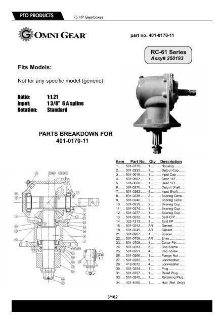 PTO PRODUCTS 75 HP Gearbo