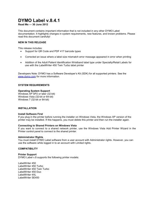 Top Labels for DYMO Label™ Software v8.7, Windows