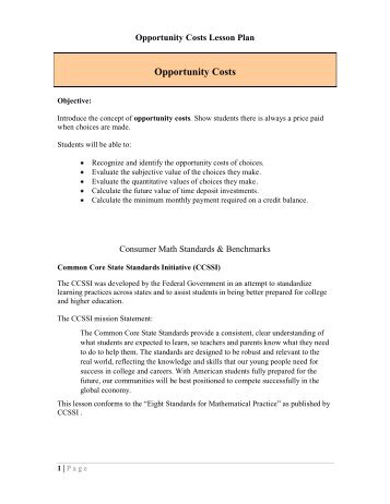 Opportunity Cost Worksheet Free Worksheets Library