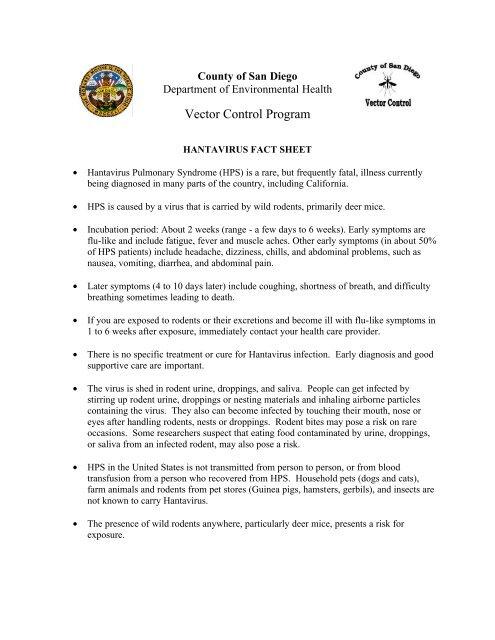 Hantavirus Fact Sheet - San Diego Health Reports and Documents