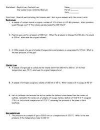 Charles Law Worksheet. Worksheets. Ratchasima Printable