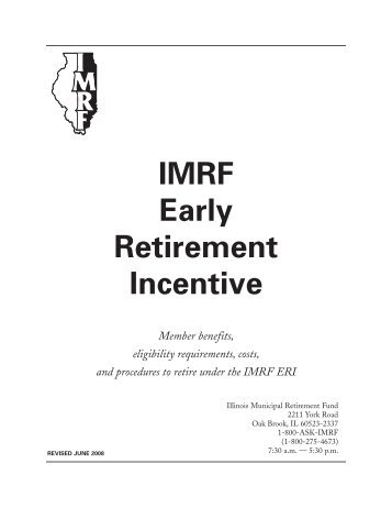 Imrf early retirement incentive member booklet also form omitted service credit verification rh yumpu