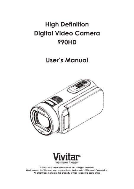 High Definition Digital Video Camera 990HD User's Manual