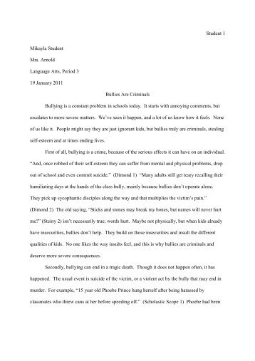 essays about bullying