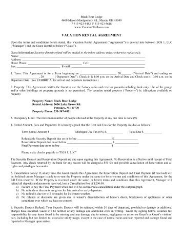Vacation Rental Agreement Vacation Rental Agreement Vacation