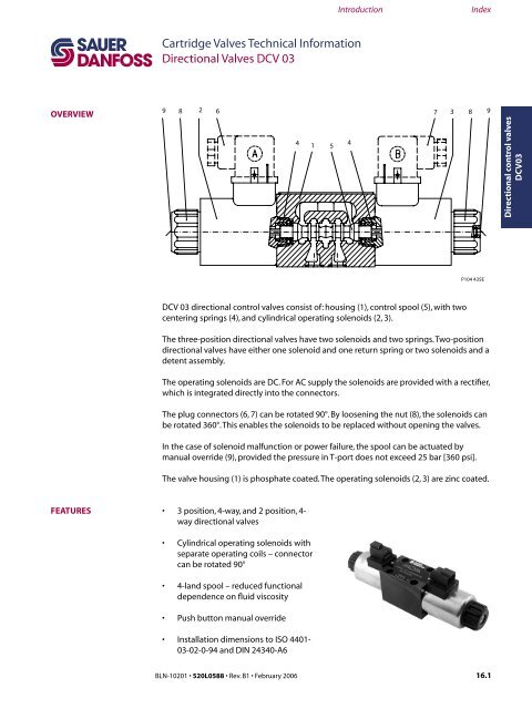 danfoss mid position valve wiring diagram 4 pin relay fan introduction index cartri dcv03 sauer