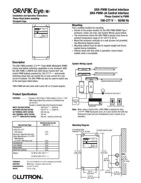 grxpwm control interface  lutron lighting installation
