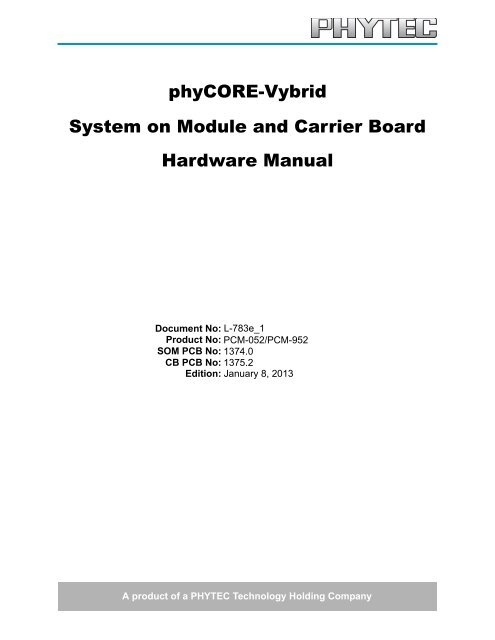 System on Module and Carrier Board Hardware Manual