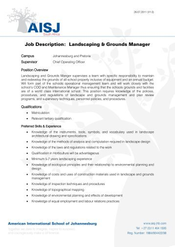 sustainable landscape project manager
