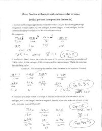 Percent Composition Empirical Worksheet