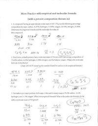 Percent Composition Empirical Worksheet