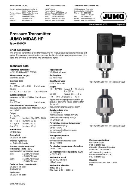Pressure Transmitter JUMO MIDAS HP